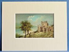 URQUHART CASTLE LOCH NESS SUPERB QUALITY ANTIQUE MOUNTED CHROMO PRINT c1890 8X6