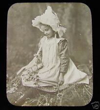 Glass Magic lantern slide A VICTORIAN GIRL IN THE WOODS C1890