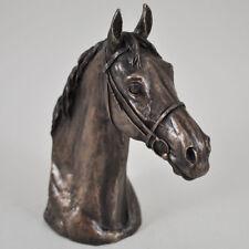 Thoroughbred Horse Head Cold Cast Bronze Sculpture / Figurine By David Geenty.