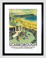 TRAVEL TOURISM SCARBOROUGH BEACH RESORT YORKSHIRE UK FRAMED ART PRINT B12X10232