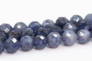 AAA MicroFaceted Natural Violet Blue Iolite Gemstone Oval Beads