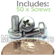 M3 x 6mm - Qty 50 - Stainless Steel Phillips Pan Head Machine Screws DIN 7985 A