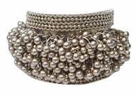 Indian Boho Fashion Bollywood Silver Oxidized Metal Ghungroo Bracelet Bangles