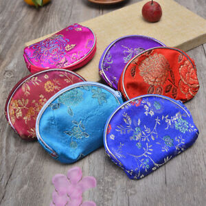 6/12/24pcs Silk Jewelry Pouch Bag Zipper Coin Purse Chinese Brocade Gift Pouch