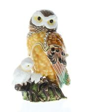 Jeweled Owl with Baby Ciel Collectible Austrian Crystal Hinged Trinket Box