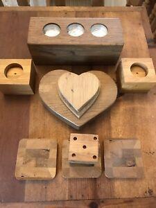 Bundle of Rustic wooden Handcrafted tea light holders/coasters & Hearts