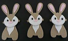 3 handmade rabbit Felt Embellishments. Die cuts. Card topper. Ideal for Easter
