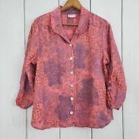 HABITAT size Medium Pink 100% Linen Floral 3/4 Ruched Sleeve Blouse Top Shirt