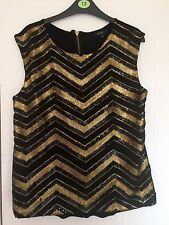 Ladies Black And Gold Sequin Top Size 12 From Therapy