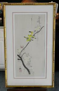 LOVELY 50'S MID CENTURY JAPANESE SIGNED BIRD BAMBOO WATERCOLOR ON SILK #4 (OF 4)