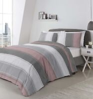 Fusion BETLEY Classic Blush and Grey Wide Stripes Duvet Cover Bedding Set