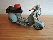 TIN PLATE MODEL 1960s SKY BLUE SCOOTER WITH HELMET SCALE 1.20
