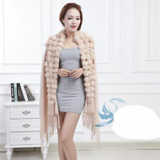 Top Grade Solid Women's 100% Wool With Rabbit Fur Ball Shawl Scarf Wrap Warm