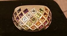 Sterling Silver Bold Multi-Gemstone Domed Band Ring, 2.2 Cttw,  Size 5