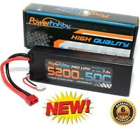 PowerHobby 2S 7.4V 5200mAh 50C Lipo Battery Pack w Deans Plug Hard Case