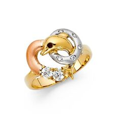 Heart CZ Dolphin Ring Solid 14k Yellow White Rose Gold Band Stylish Fish Ring