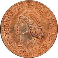 1861 - 1/100 Confederate Token Restrike Cent, Exonumia