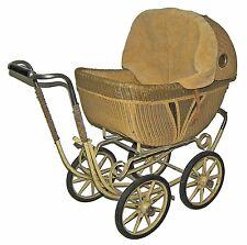 Vintage Lloyd's Rattan Wicker Baby Buggy-British Style Pram! Push Doll Carriage