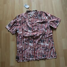NEU Nudie Jeans, Hemd short sleeved Shirt BRANDON Graffiti Stripe Ketchup M