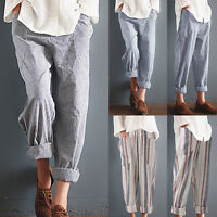 Womens Cotton Linen Elastic Waist Vintage Pants Trousers Casual Harem Striped