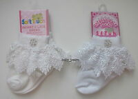 BABY GIRLS OCCASION ANKLE SOCKS WHITE IVORY FRILL DIAMANTE FLOWER CHRISTENING