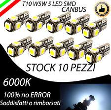 LOTTO 10 PEZZI T10 5 LED W5W CANBUS NO ERROR 6000K HYPERLED ULTRALUMINOSI