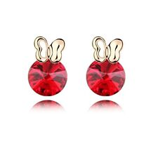 18K Gold Plated Made With Swarovski Crystal Round Cut Bunny Stud Earrings