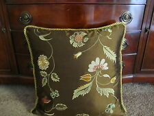 """20"""" Pillow 100% Silk Colorful Embroidered Gold Floral On Chocolate Espresso"""