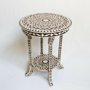 Made To Order Indian Handmade HandicraftBone Inlay Round Side Table Black Floral