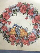 "Counted Cross Stitch Design Works - Promises Wreath 12"" x 12"" Birds flowers"