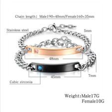 Titanium Steel Chain Bracelet Bangle Couple Lover Bracelet Fashion Stainless-NEW