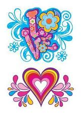 LOVE AND HEART GROOVY FUN COLORS Temporary Tattoo