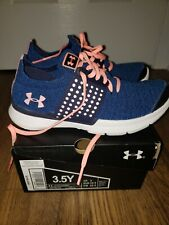Under Armour Youth Size 3.5Y Ggs Slingwrap Athletic Shoe pre owned navy/peach