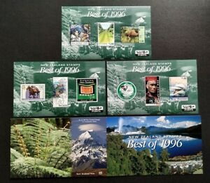New Zealand Best of 1996 Stamps complete set 3 Mini-Sheets MS Mint NH in Folder