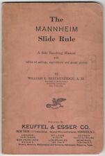 1938 Mannheim Slide Rule - A Self-Teaching Manual - settings equivalents gauge +