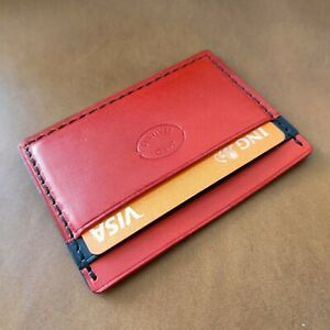 Card case, leather case for credit cards handmade ,Red and Black color