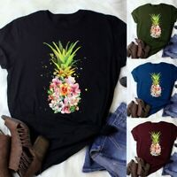 Womens Pineapple T-Shirt Graphic Tees Summer Short Sleeve Round Neck Shirt Tops
