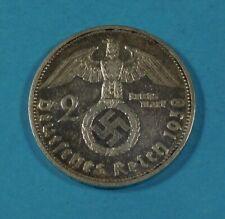 1938-g NAZI GERMANY 2 MARK COIN - SWASTIKA - SILVER