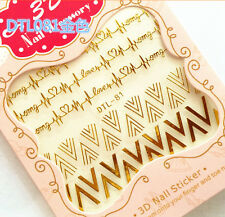 Gold Cardiogram Arrow Triangle OMG 3D Nail Art Sticker Decals UV Gel Manicure