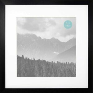 """🟢 16x16"""" With White Mount For 12x12"""" Photo GLASS Window Oxford Black Square 🟢"""