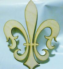 DIY Fleur De Lis Unfinished Wooden Cut Out design decor 12in