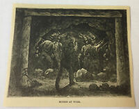 1877 magazine engraving - COAL MINERS AT WORK