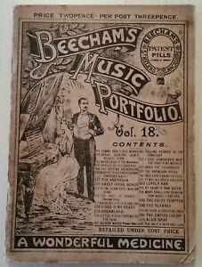 ANTIQUE BEECHAMS MUSIC BOOK.1900.PORTFOLIO.64 PAGES.MEDICAL.PILLS.PROP.DISPLAY.
