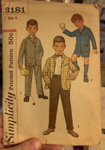 SIMPLICITY 3181 VINTAGE BOYS SUIT PATTERN JACKET PANTS SHORTS SIZE 6 CUT
