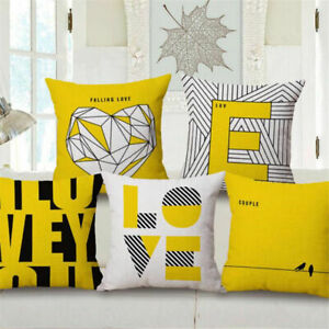 """18"""" Yellow Simple Style Love Cushion Cover Sofa Bed Car Decorative Pillow Case"""