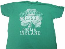 Mens Green Guinness Beer Dublin Ireland Logo Graphic T-shirt Size L