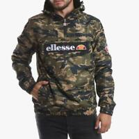Ellesse Mens Jacket Mont 2 Overhead 1/4 Zip Hooded Logo Green Camo Medium