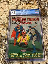 WORLD'S FINEST COMICS #3 CGC 3.0 1ST SCARECROW SANDMAN BEGINS BATMAN SUPERMAN CV