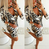 Women Leopard Print Bodycon Dress Sexy V Neck Cocktail Party Mini Dress New 2 Nd