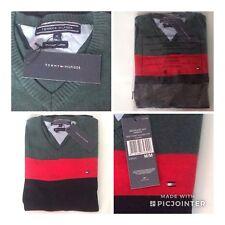 Tommy Hilfiger Mens Pure Cotton V Neck Green/Red/ Black Jumper XL
